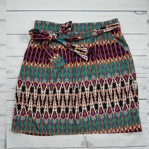 Francescas Tribal Boho Bow Tie Stretch Skirt Med